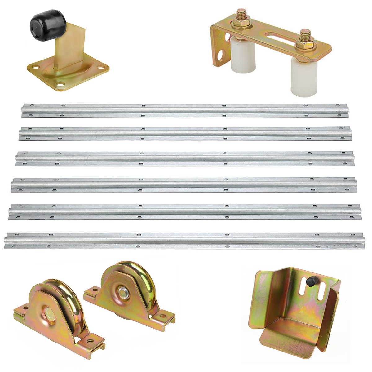 Gate Hardware Kit Gate Stopper Roller Guide Opener Track Stopper Wheels Sliding Gate Home Gate Safety Hardware Accessory MAYITR gate gate magnetic plated hardware floor wall suction gold 176203
