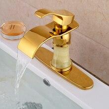 Новый Золотой Латуни Водопад Ванной Бассейна Кран Палуба Mout Краны Горячей и Холодной Воды + 3 Крышка Отверстия Плиты