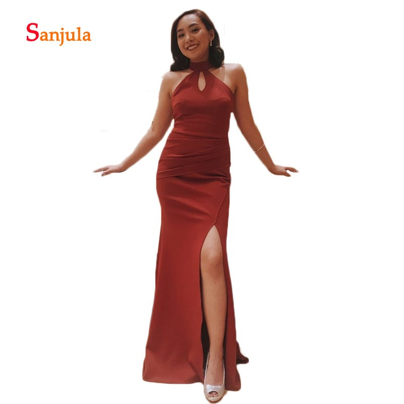 Burgundy Sheath   Prom     Dresses   High Neck Simple Keyhole Front Sexy Leg Slit Evening Party   Dresses   Back Straps Formal Gowns D602