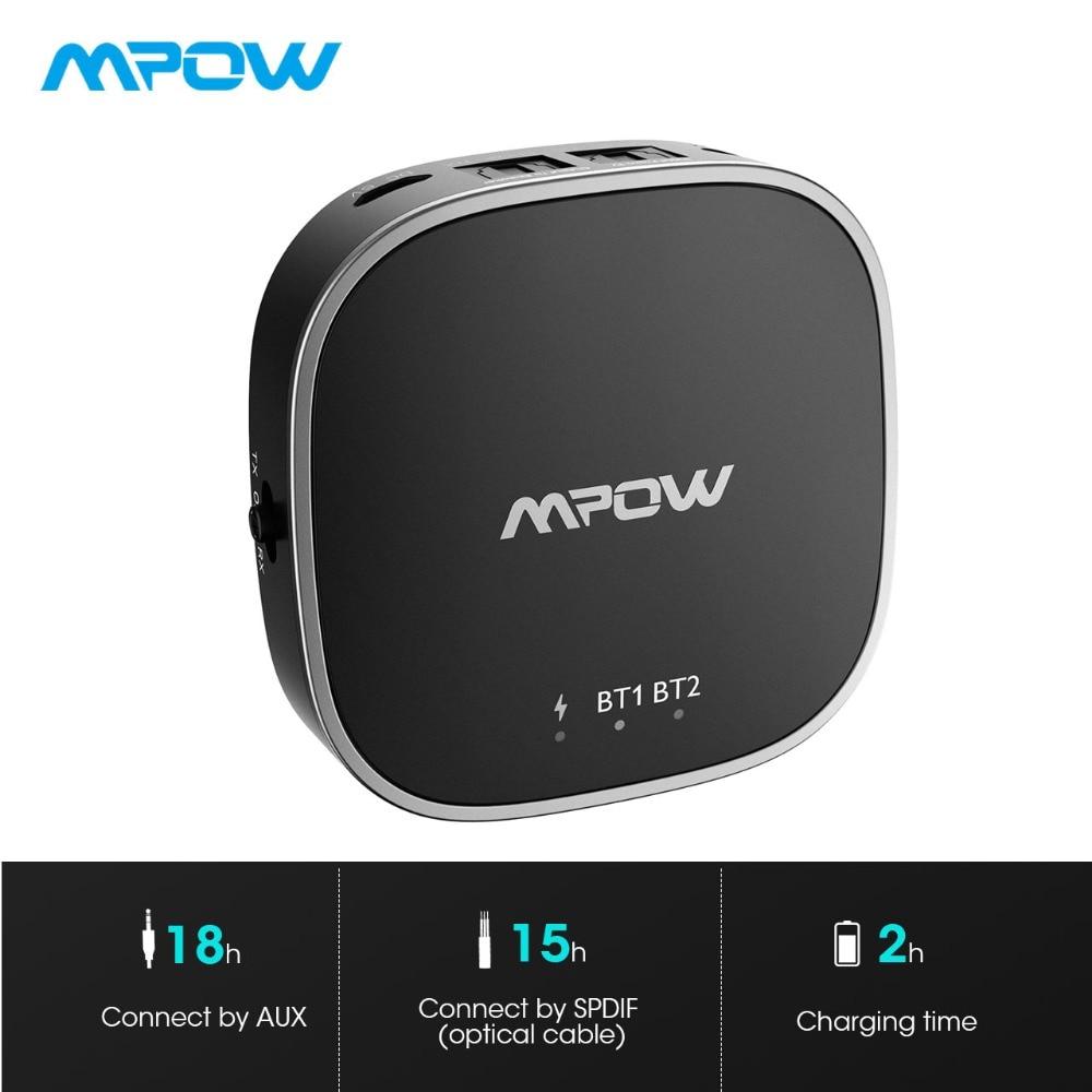 Mpow adaptateur sans fil Bluetooth 5.0 émetteur récepteur avec APTX/APTX-HD/APTX-LL RCA numérique optique Toslink pour TV/maison/voiture