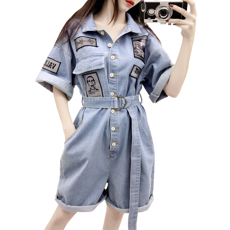 Lovely 2019 New Short Sleeve Summer Denim Overalls Women Short Jeans Jumpsuit Fashion Letter Patch Casual Loose Women Jumpsuit Rompers Women's Clothing