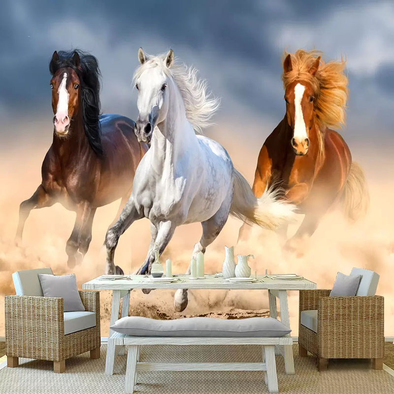 Custom Mural Wallpaper 3D Stereo Horse Photo Wall Paper Living Room TV Sofa Bedroom Background Wall Painting Papel De Parede 3 D