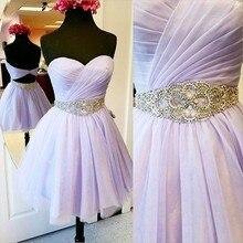 Homcoming Kleid Lavendel 2017 Heißer Verkauf Chiffon Kurzer Schatz Rock Formelle kleidung Einfach. Klasse Graduation Dresses 1071400
