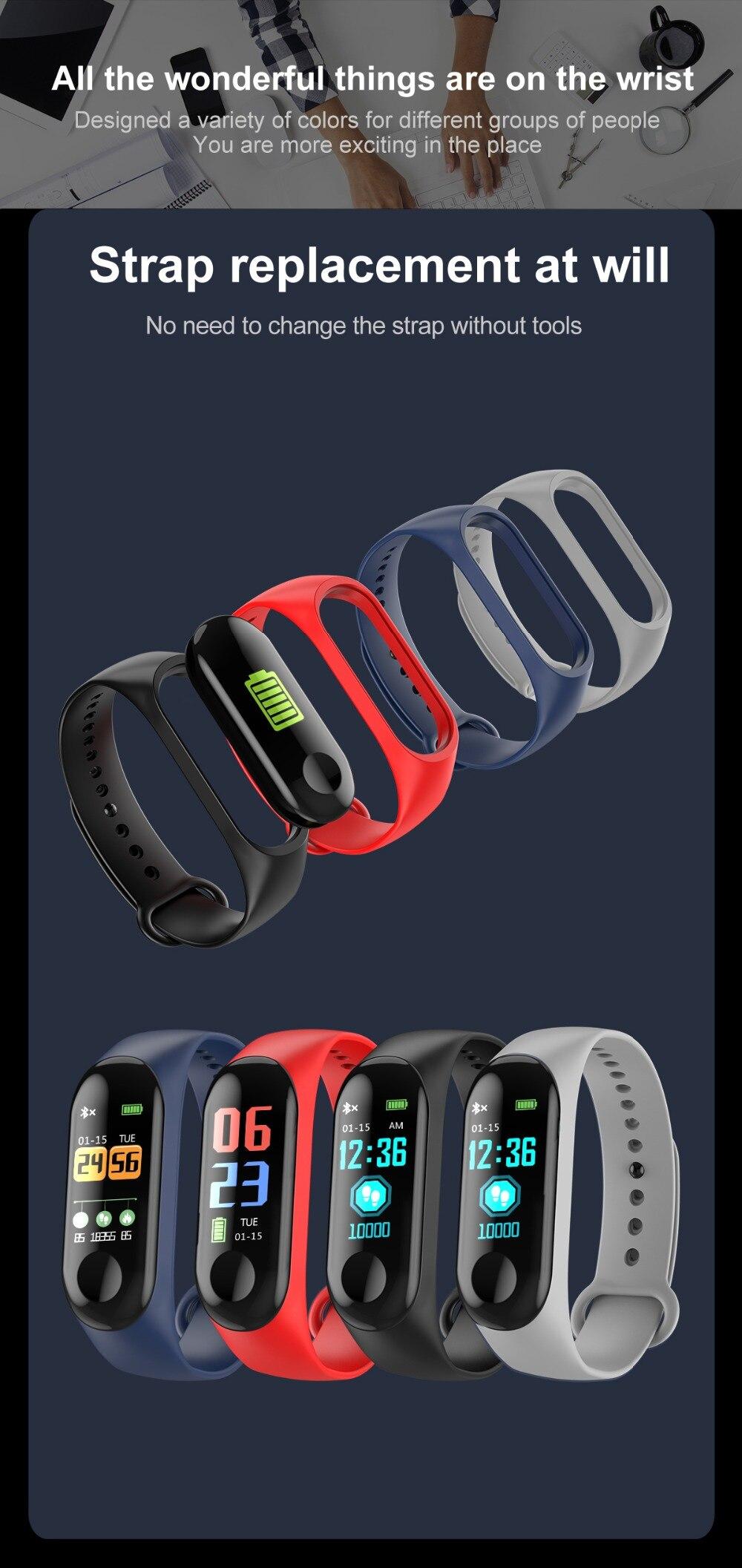 Torntisc W3 Fitness Bracelet Color-screen IP68 Waterproof blood pressure Oxygen Monitor sport Heart Rate Smart band pk mi band 3 (16)