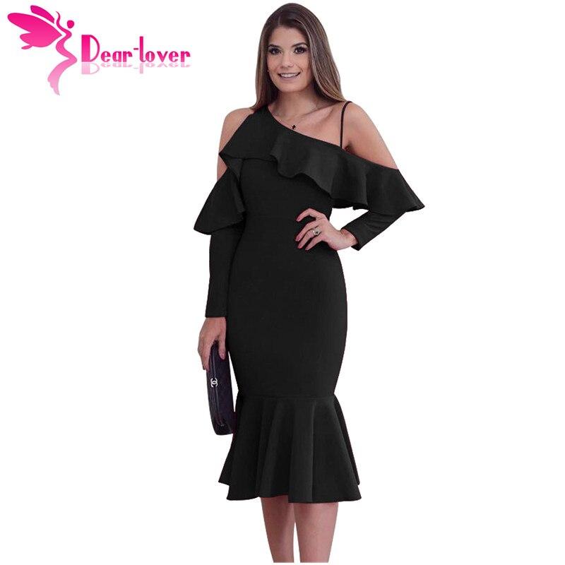 Dear Lover Party Dress for Women Long Sleeve Winter 2017 Asymmetric Slope Shoulder Mermaid Ruffle Dress Elegant Vestidos LC61745