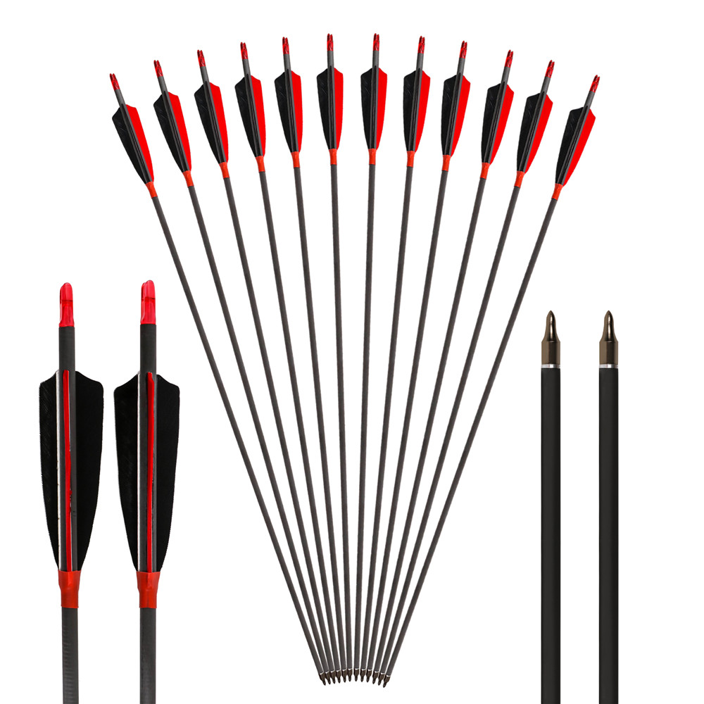 6 Pack Archery  Hunting And Shooting 400/500/600 Spine Carbon Arrow With 4