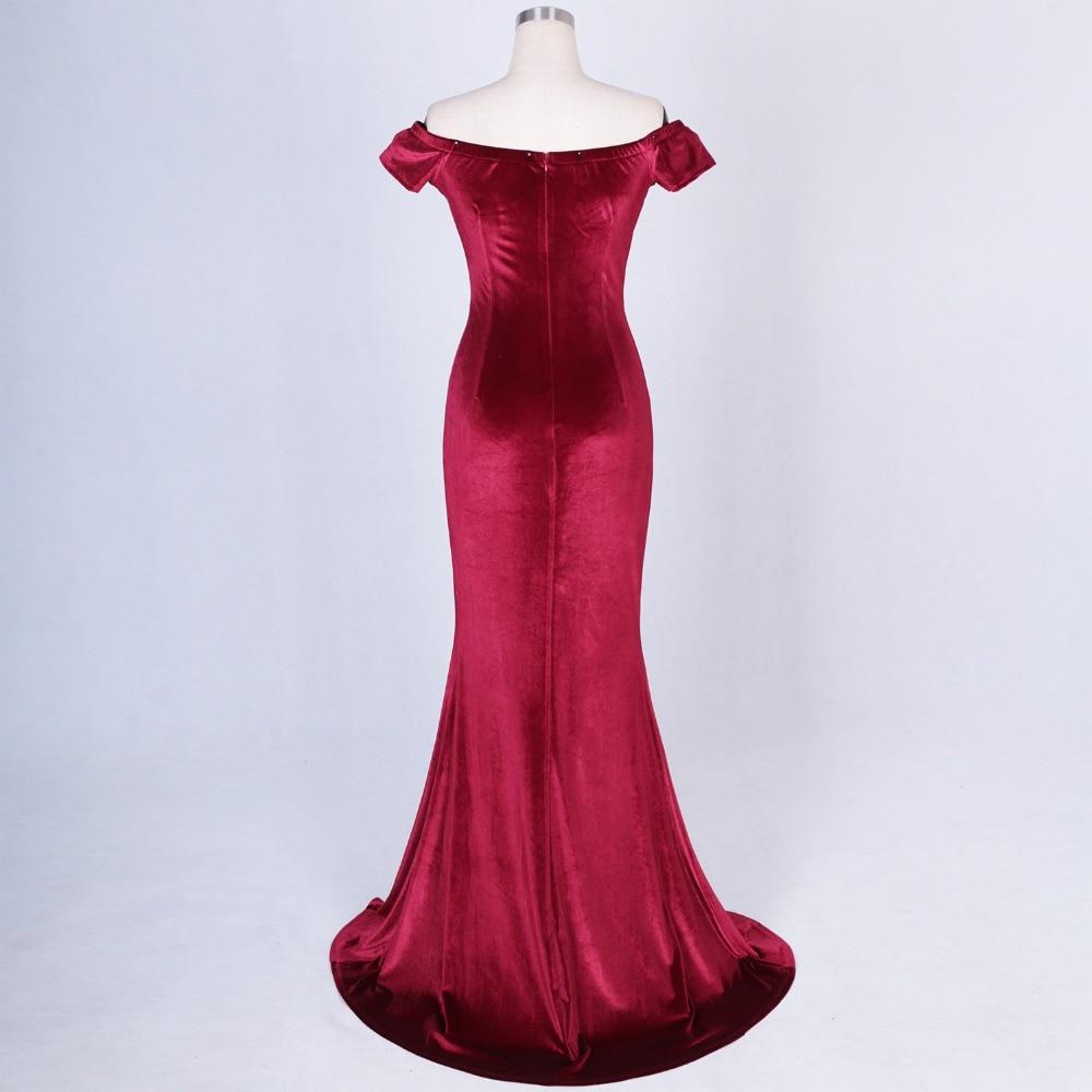 Women Elegant Sexy Appliques Velvet Wine Red Off Shoulder V-Neck Long Mermaid Slim Slit Club Party Dress Vestidos (32)