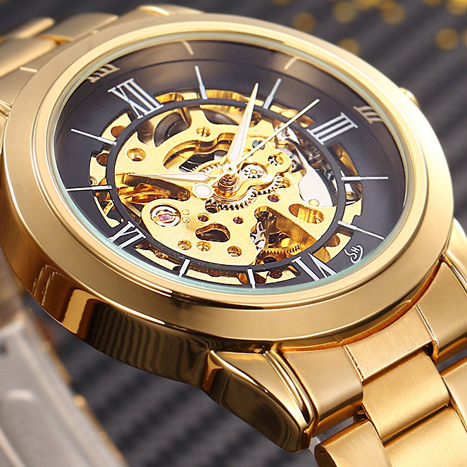 SHENHUA Luxury Brand Gold Skeleton Automatic Watch Men Stainless Steel Strap Male Clock Relogio Masculino Men's Mechanical Watch forsining gold hollow automatic mechanical watches men luxury brand leather strap casual vintage skeleton watch clock relogio