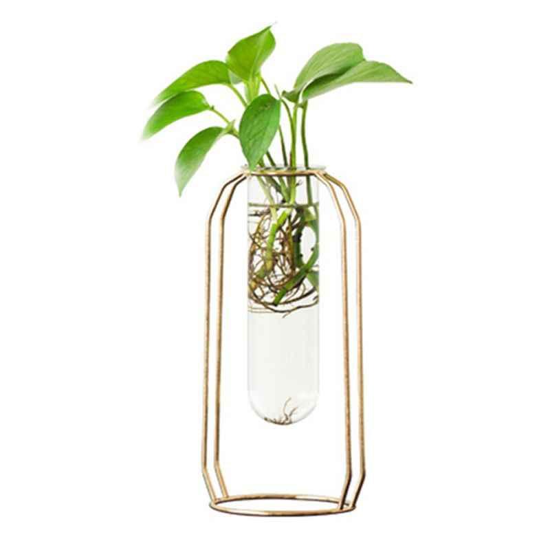 Nordic Glass Cuvette Vase Modern Gold Plated Iron Flower Vase Fashion Plant Vase Creative Terrarium Room Home Wedding Decorati