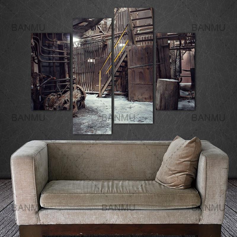 Décoration pour salon toile peinture mur 4 panneau mural art usine abandonnée passé industriel machine peinture