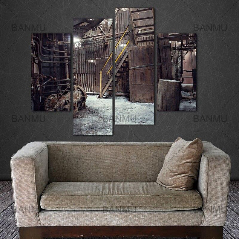 US $7.85 48% di SCONTO|Decorazione per soggiorno tela della parete della  pittura 4 Pannello di Wall Art Abbandonato Fabbrica Industriale Sfondo ...