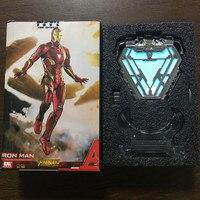 [Funny] 1:1 scale Iron Man Mark 50 MK50 Nano Suit Armor Arc Reactor LED Light Figure Model Toys Wearable light on the body
