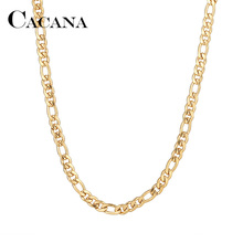CACANA Stainless Steel Chain Necklaces For Man Women Gold Silver Color For Pendant Flat Donot Fade Jewelry N1910 cheap Chains Necklaces TRENDY Link Chain Metal Other As Picture Fashion Drop Shipping Accept High Polished Will Not Fade