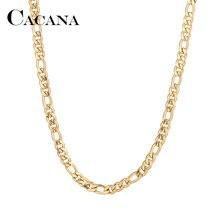 Мужские и женские цепи CACANA, ожерелье из нержавеющей стали золотого и серебряного цвета с подвеской, плоское, не выцветает, A1305