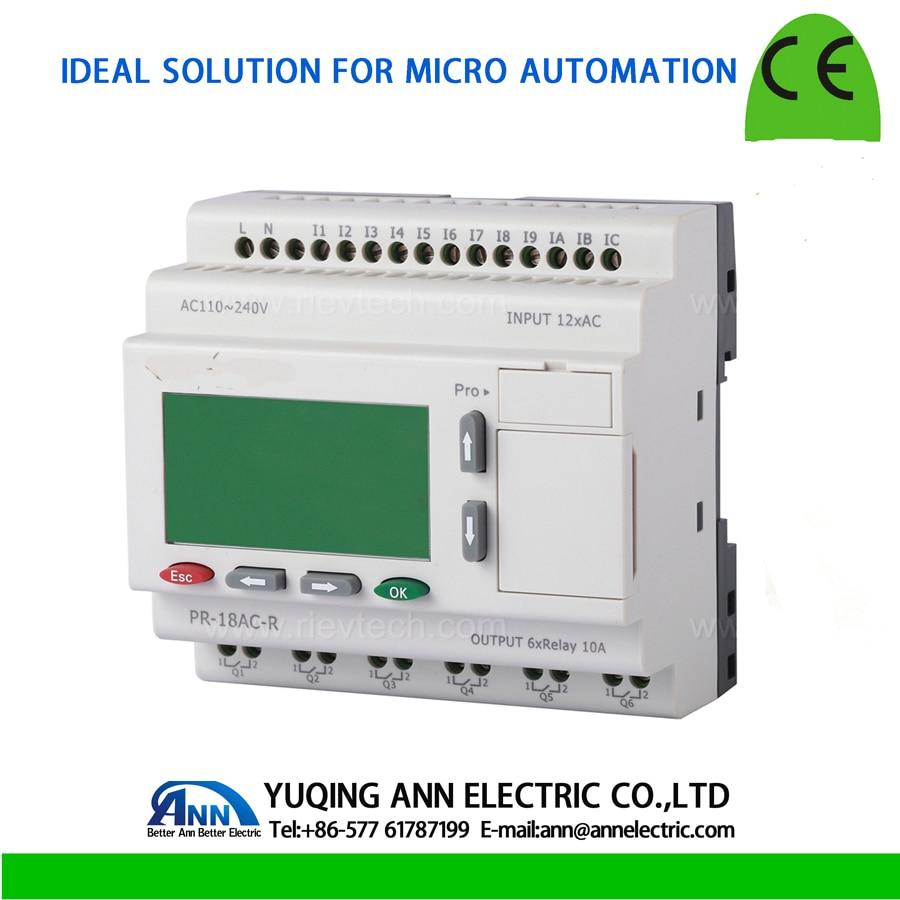 PR-18AC-R avec LCD, sans contrôleur logique Programmable par câble, sortie AC 110 ~ 240 V, 12 DI, 6 relais (10A), relais intelligent, mini PLC