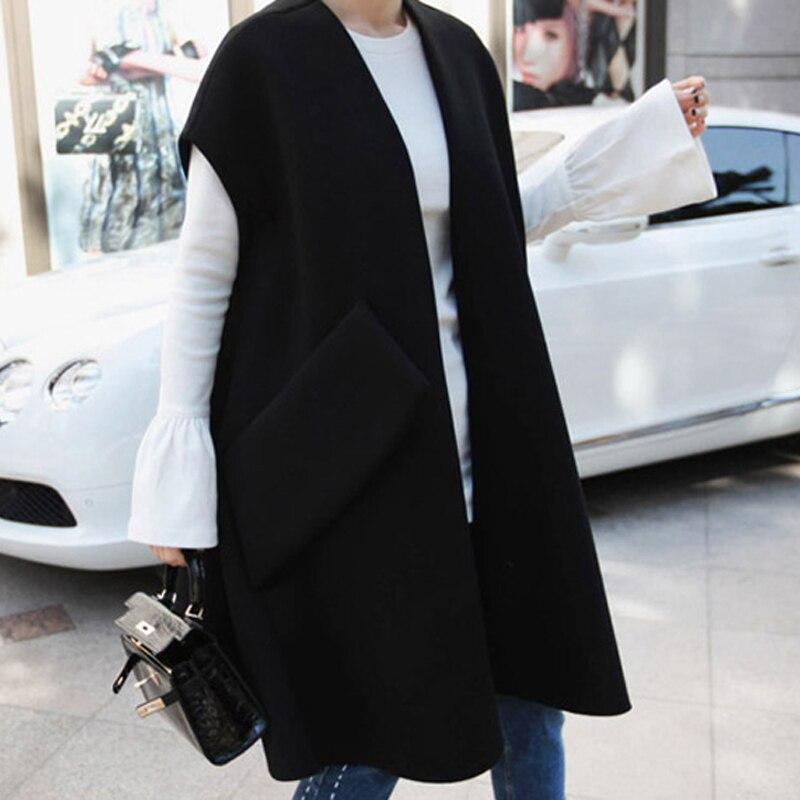 Lanmrem 2019 봄 새로운 패션 캐주얼 여성 자 켓 느슨한 플러스 민소매 대형 포켓 울 코트 tc172-에서베이식 쟈켓부터 여성 의류 의  그룹 2
