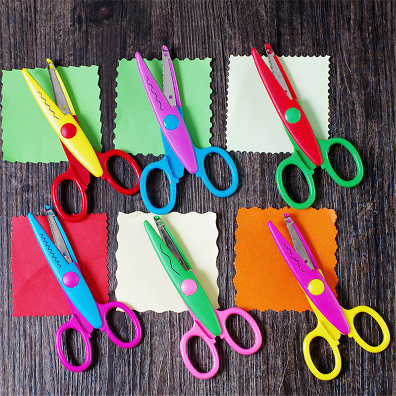 6 Pcs Laciness Scissors Metal And Plastic DIY Scrapbooking Photo Colors Scissors Paper Lace Diary Decoration Safety Scissors