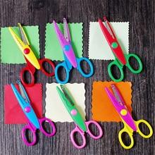 Tijeras de encaje de Metal y plástico para manualidades, tijeras de colores para álbum de recortes, foto, papel, decoración de diario, 6 uds.