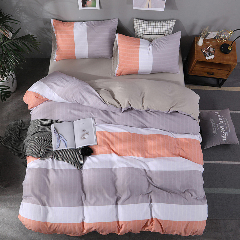 Stripe Washed Cotton Bedding Set King Queen Size Quilt Cover Bed Sets Soft Comfortable Dropshipping Adult Luxury Beddings