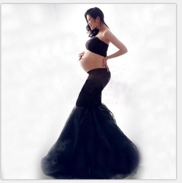 2017 nova fotografia adereços de roupas de maternidade para mulheres grávidas dress gravidez roupas da foto do retrato o preto culottes longos