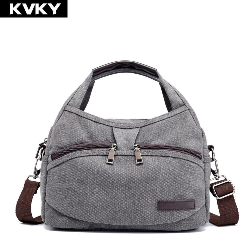 661bda9df63 KVKY Brand Canvas Bag Women Handbags Multi-pocket Hobos Shoulder Bag Female  Casual Tote Bag