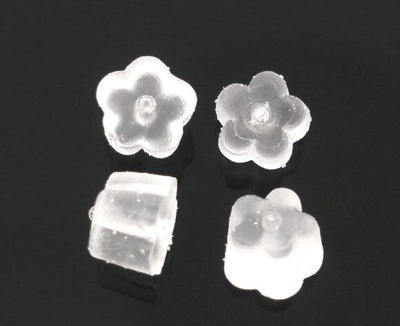 Rubber Earring Findings Ear Nuts Flower White 4mm( 1/8