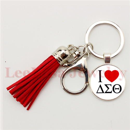 Greek Delta Sigma Theta Sorority Logo 8 Colors Tassel Keychain Red