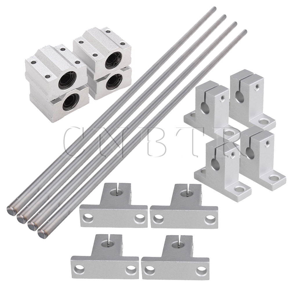 CNBTR 8mm Dia Silver Linear Motion Ball Bearing Linear Shaft Rail Guide Support 500mm Shaft Optical Axis Set