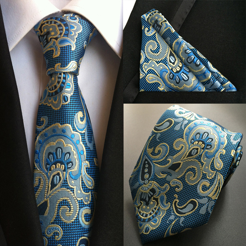 Factory Fashion Men's 100% Silk Ties Handkerchief Set 10 Styles Paisley Floral Wedding Party Banquet Pocket Square Necktie Hanky
