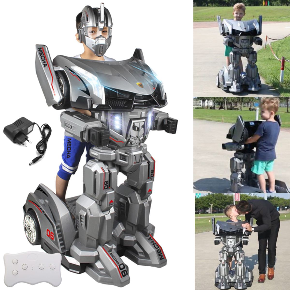 Remote Control Ride On Humanoid Robot Car Toy Movable Transformer Car With Robot Helmet For Kids Children Gift Amusement Park hot sales frp kiddie ride on toy cars coin operated kiddie ride coin swing riders for kids swing machine