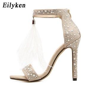 Image 3 - Eilyken Sexy Frauen Sandalen Pumpen Sommer Strass Zipper Feather Hohe Ferse Apricot Frauen Hochzeit Pumps Schuhe