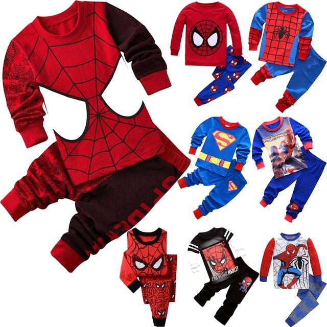 Для мальчиков и девочек пижамы костюм супергероя хлопок детские пижамы  одежда для сна детский Пижамный костюм d88fdb4050c0c