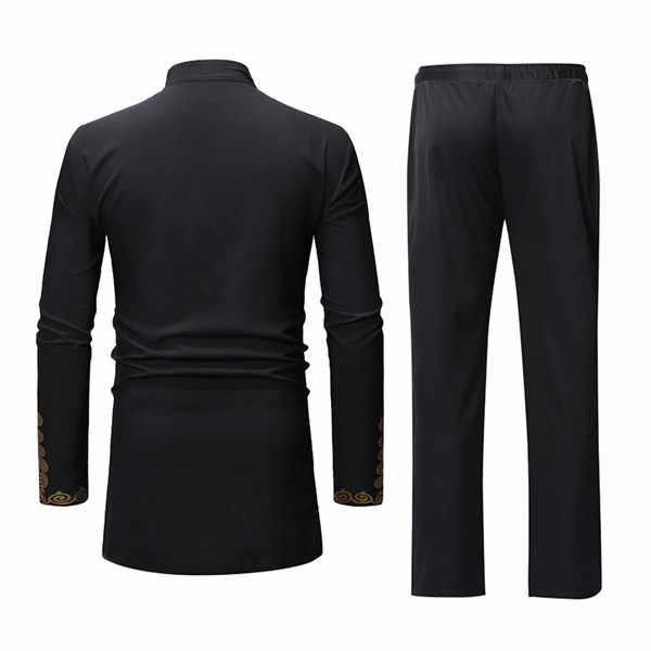 アフリカ Dashiki 印刷トップパンツセット 2 個衣装セット 2019 伝統的な男性アフリカ服黒カジュアルアフリカのためのスーツ男性