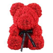 2019 Прямая поставка 40 см для мыльной пенки розового плюшевого мишку искусственный цветок в подарочной коробке для подруги Для женщин Валентина подарки на день матери