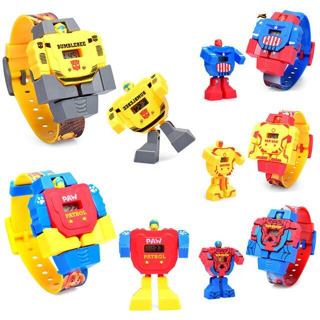 Deformado Assistir Brinquedo Do Bebê das crianças Spiderman Dos Desenhos Animados do robô À Prova D' Água Relógio eletrônico Digital Relógio Para Crianças meninos meninas Estudante