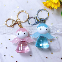 Cartoon Crystal Keychain Cute Pink Blue Angel Key Chain Keyring Pendant Women Gift