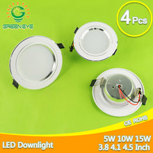4Pcs Silver White Ultra Bright LED Downlight 5w 10w 15w Thin Round LED Ceiling Recessed Spot Light 85~240v Down Light Cold Warm