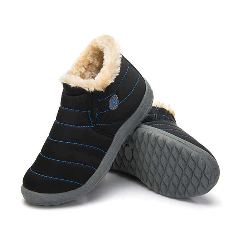 Водонепроницаемая женская зимняя обувь; пара зимних ботинок унисекс; Теплые повседневные ботинки с мехом внутри на нескользящей подошве; Size35-48
