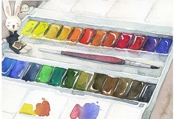 Free shipping British Windsor Newton  Cotman 45 color watercolor Solid studio water colours set professional artist suit