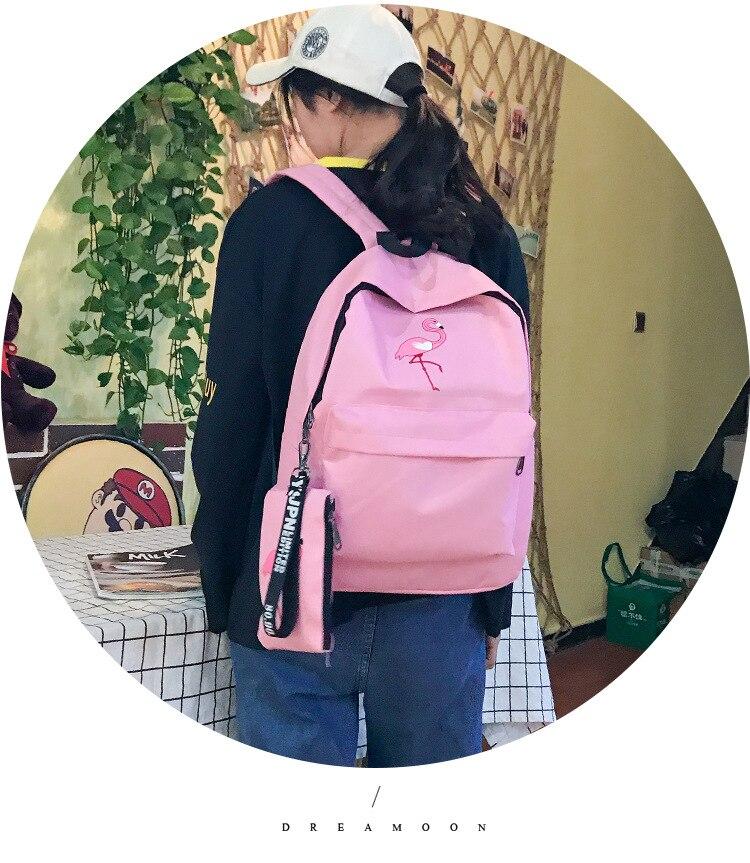 HTB1f5C5wYZnBKNjSZFKq6AGOVXaf Backpacks Brand Women Simple Flamingo Printing Backpack For Teenage Girls Laptop School Bags Mochila 2019