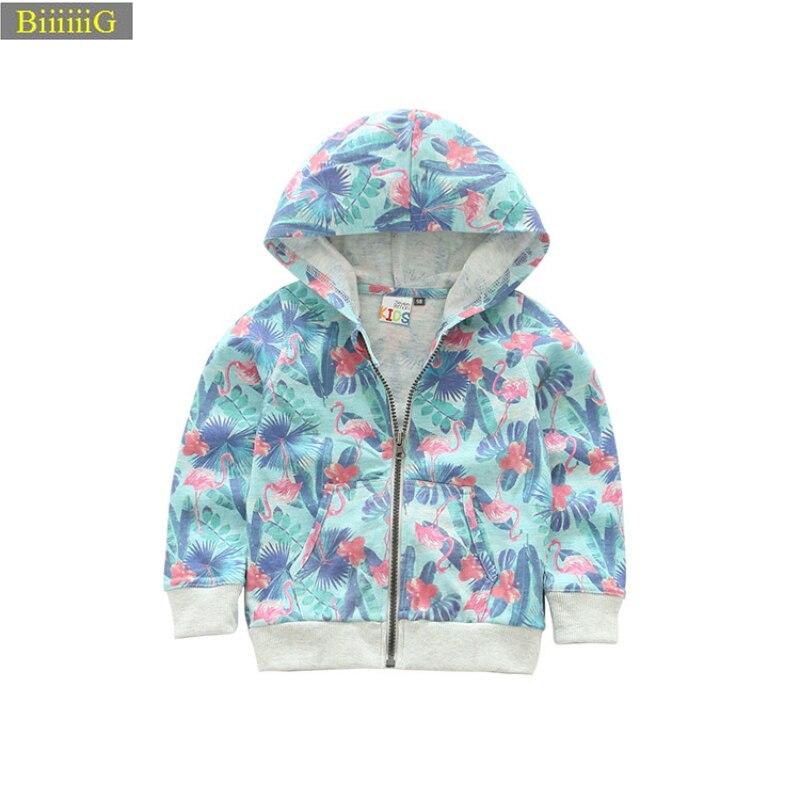 Новый Демисезонный куртки для мальчиков и девочек Фламинго печати Детские 2018 Одежда для девочек хлопковая куртка с капюшоном верхняя одежд...