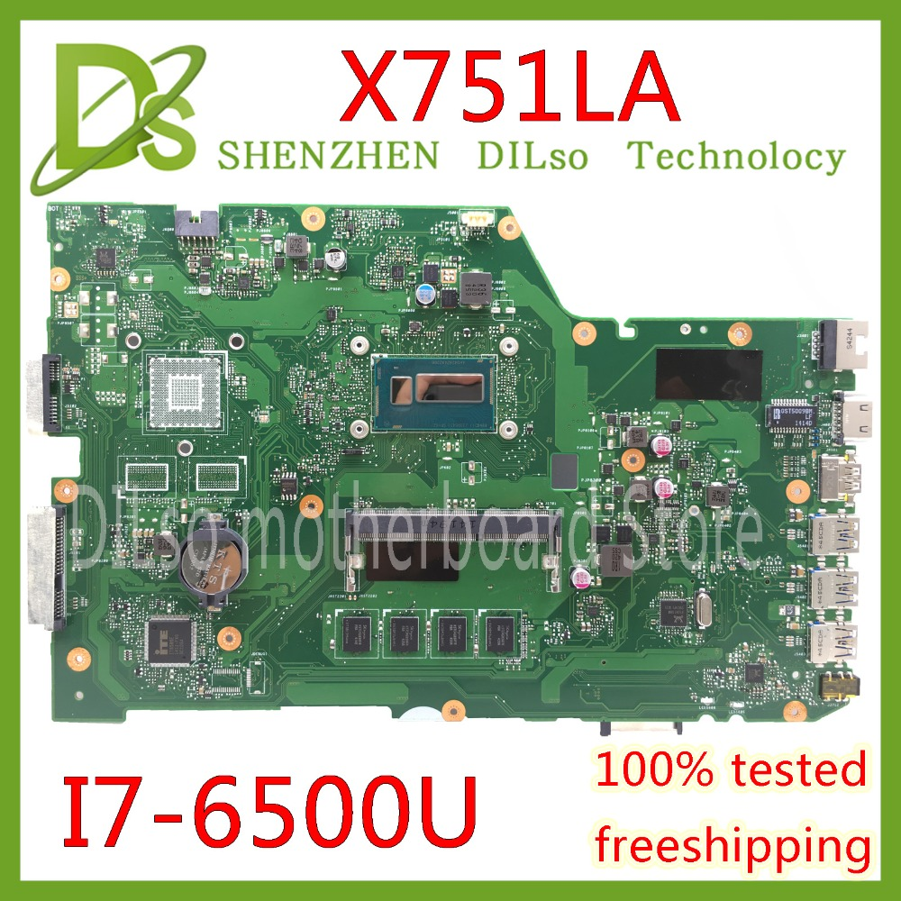 KEFU X751LA For ASUS X751LA X751LAB X751LD original laptop motherboard I7-6500U CPU 4G memory original mainboard Test x751ld motherboard rev 2 0 i7 4710 cpu 4gb ram for asus x751ln x751lj k751l x751ld laptop motherboard x751ld mainboard 100% ok