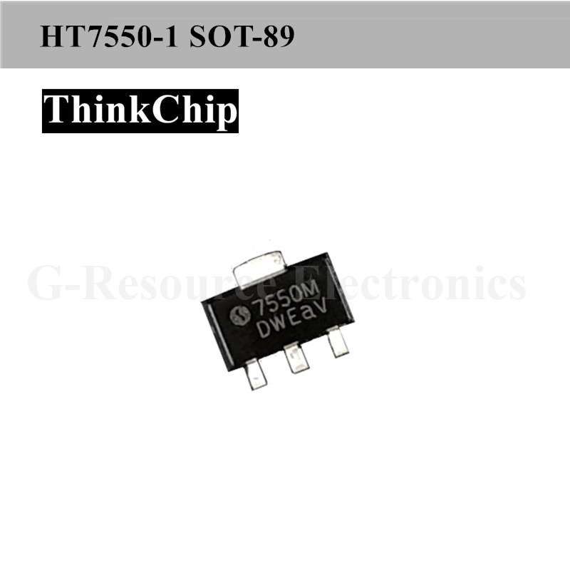 Free Shipping 20PCS HT7550-1 S0T-89 HT7550 SMD Fixed LDO Voltage Regulator, 6V To 24V In, 100mV Dropout, 5V/100mA Out, SOT-89-3