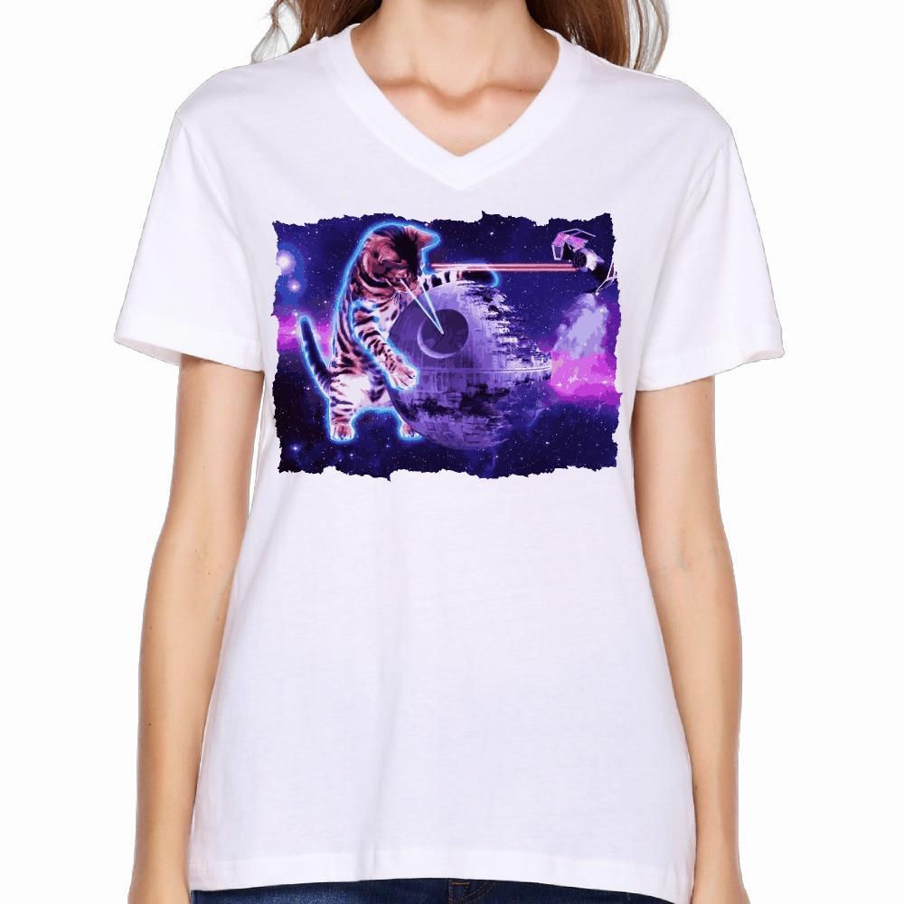 2017 laser eyes space cat print women v neck t shirt for T shirt laser printing