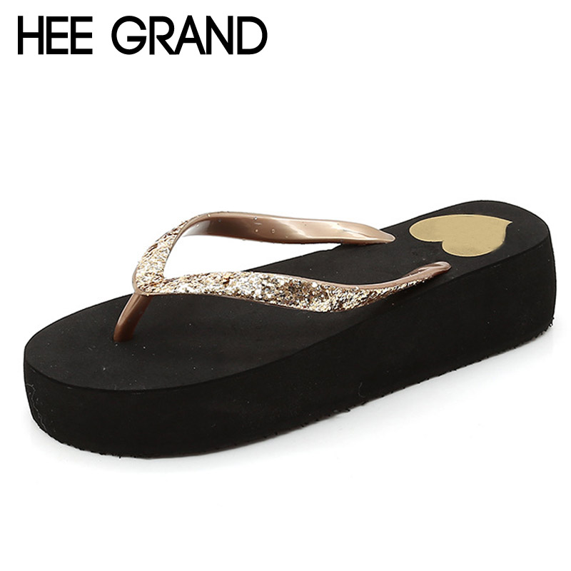 HEE GRAND Glitter Flip Flops Platform Slides Gold Silver Casual Shoes Woman Summer Bling Creepers Slip On Flats XWT634 phyanic crystal shoes woman 2017 bling gladiator sandals casual creepers slip on flats beach platform women shoes phy4041
