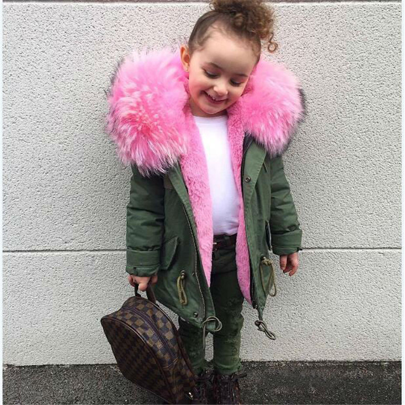 Cold Russian Girls Coats And Jackets Kids Faux Fur Collar Removable Thicken Coat For Baby Boy Children Winter Outwear For Girls