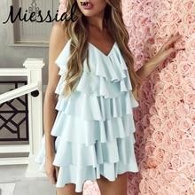 Miessial V neck ruffles bodycon dress women Sleeveless short mini dress summer Elegant holiday beach spring sexy party dress