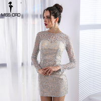 Missord 2018 Sexy O Neck Long Sleeve Women Casual Dresses Glitter Mini Party Dress FT8692 1