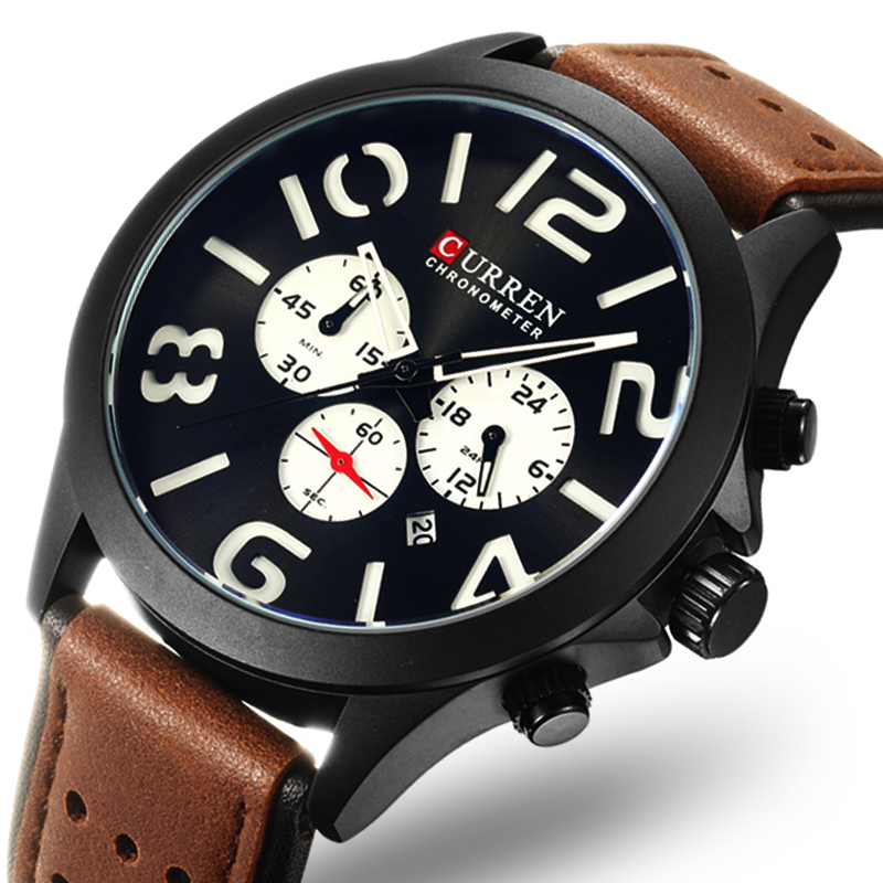 Mens Watches CURREN Top Brand Luxury Fashion Casual Sport Quartz Watch Men Military WristWatch Clock Male Relogio Masculino megir mens watches top brand luxury casual fashion quartz watch sport wristwatch mens leather strap male clock relogio masculino