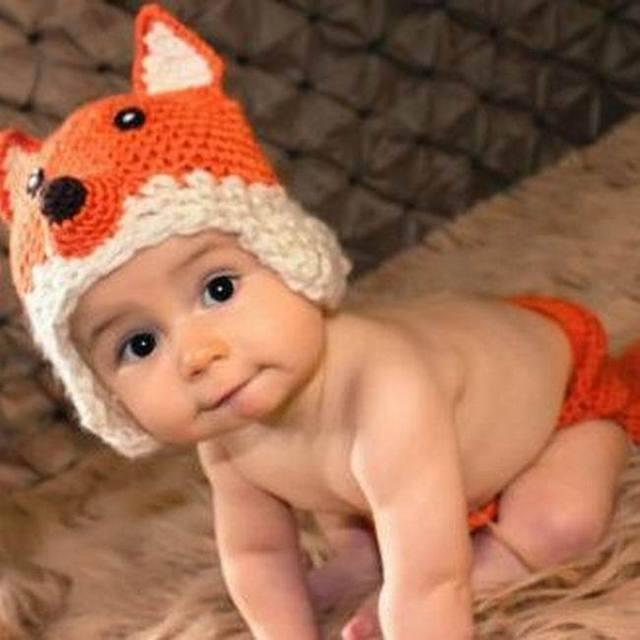 922c0c355 Newborn baby boy girl Knitted Clothing Set fox pattern hat shorts ...